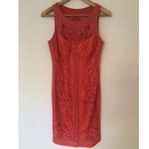 Sue Wong Nocturne Coral Embroidered Lace dress 6